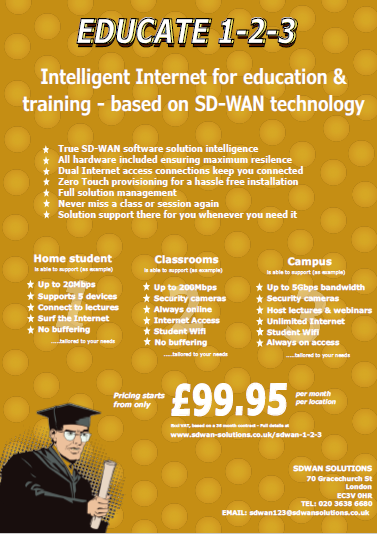 SDWAN 1-2-3 EDUCATION only from SDWAN SOLUTIONS with complete SD-WAN solutions starting from £99.95 pm