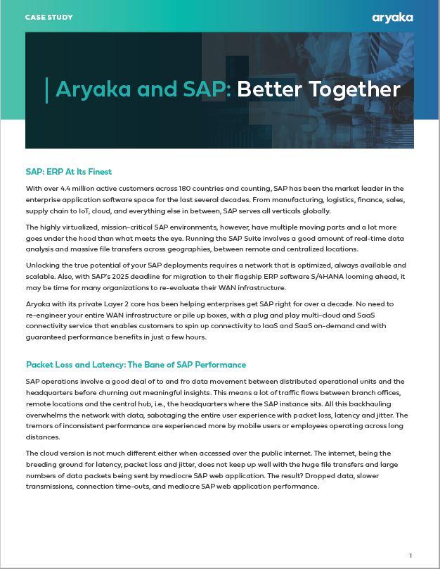 SDWAN Solutions - SAP Aryaka case study