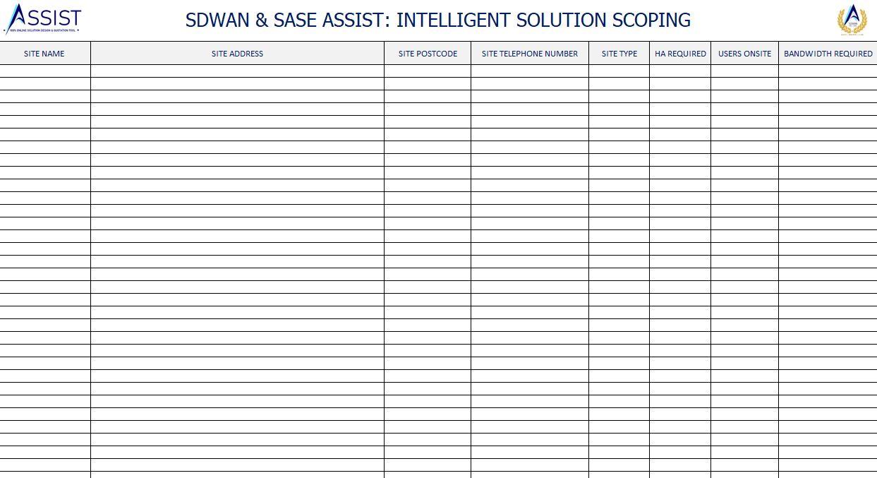 SDWAN ASSIST Site list template