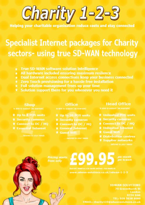 SDWAN 1-2-3 CHARITY only from SDWAN SOLUTIONS with complete SD-WAN solutions starting from £99.95 pm