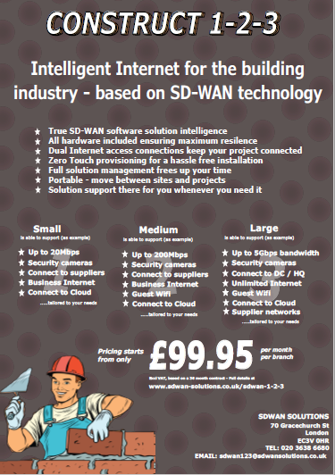 SDWAN 1-2-3 CONSTRUCTION only from SDWAN SOLUTIONS with complete SD-WAN solutions starting from £99.95 pm