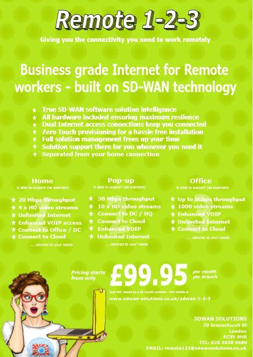 SDWAN 1-2-3 REMOTE WORKERS alleen van SDWAN SOLUTIONS met complete SD-WAN-oplossingen vanaf £ 99,95 pm